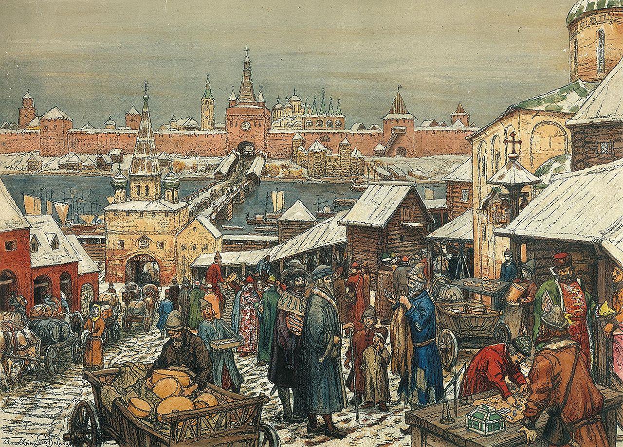 «Новгородский торг» — картина Аполлинария Васнецова